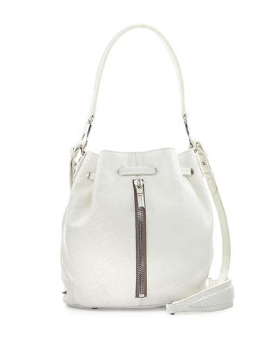 Elizabeth and James Cynnie Mini Leather Bucket Bag, White