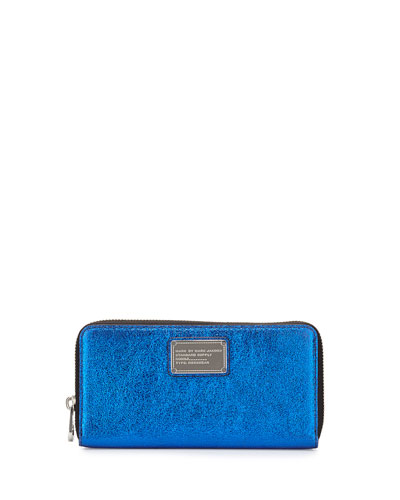 Classic Q Metallic Wingman Zip Wallet, Scuba Blue