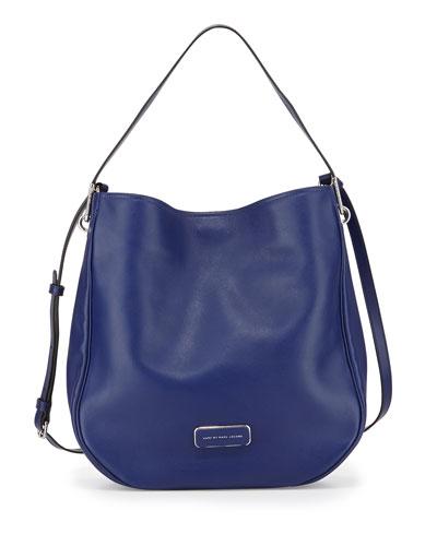 Ligero Leather Hobo Bag, Mineral Blue