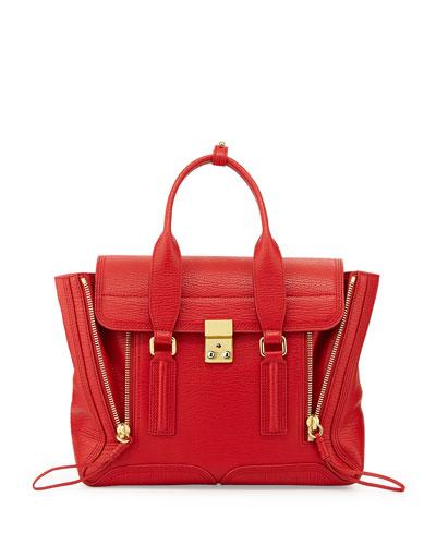 Pashli Medium Zip Satchel Bag, Red