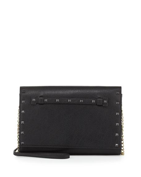 Stud-Trim Chain Shoulder Bag, Black
