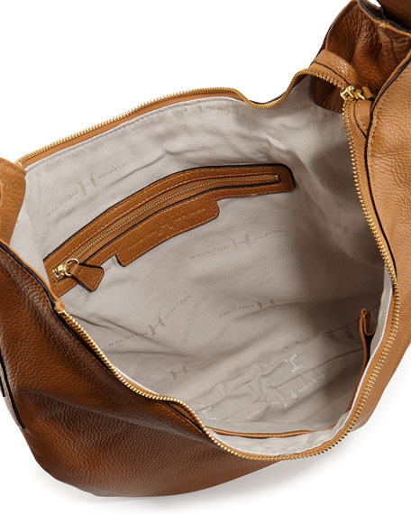 Halston Heritage Leather Slouch Hobo Bag, Tan