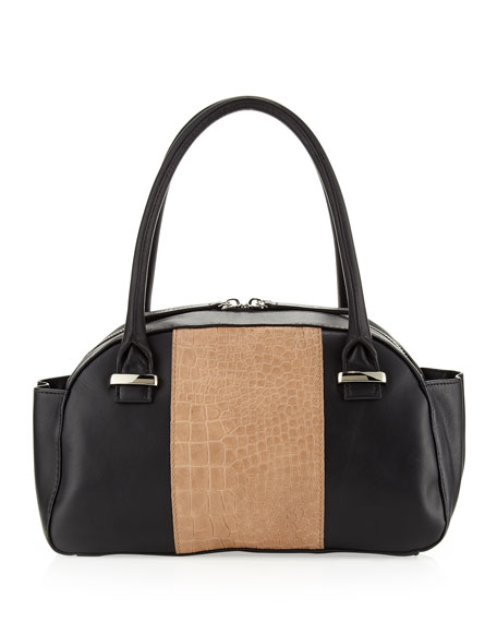 Jeri Center-Embossed Mini Satchel, Black/Tan