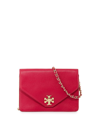 Kira Leather Crossbody Bag, Carnation Red/Gold