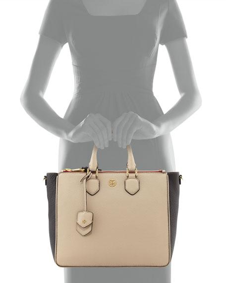 Robinson Double-Zip Square Tote Bag, Beige/Black/Cab