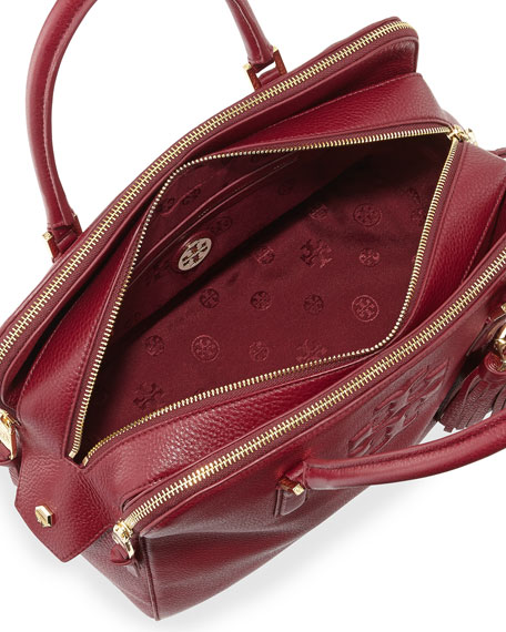 Tory burch thea triple zip leather tote bag cabernet