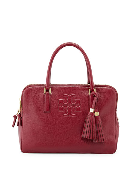 Tory Burch Thea Triple-Zip Leather Tote Bag, Cabernet