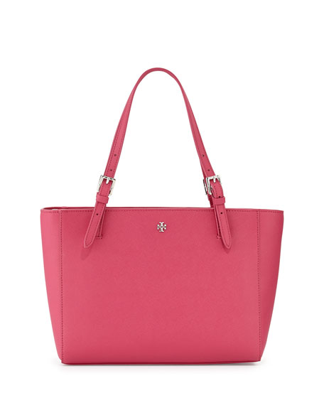 York Saffiano Leather Tote Bag, Carnation Red
