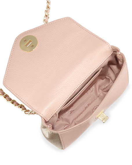 Kira Mini Chain-Strap Crossbody Bag, Rose/Champagne