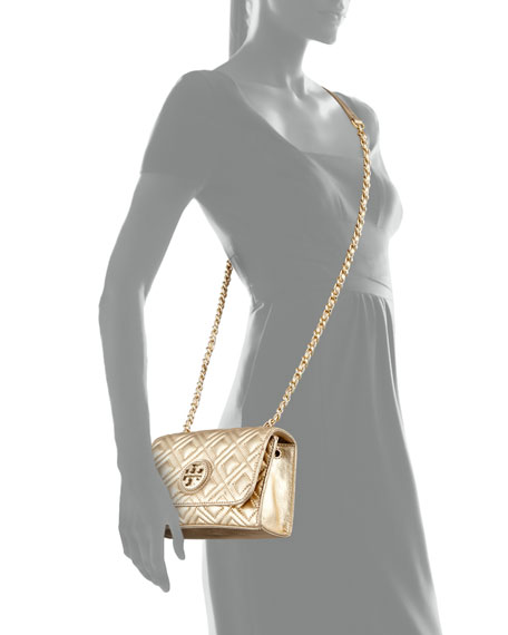 Marion Quilted Metallic Mini Shoulder Bag, Gold