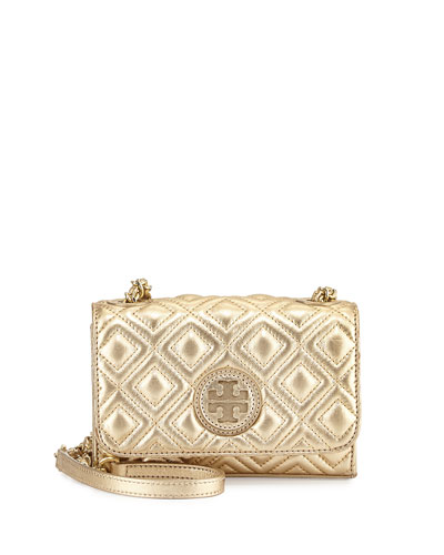Tory Burch Marion Quilted Metallic Mini Shoulder Bag Gold