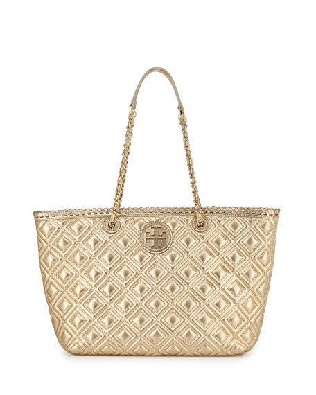 Marion Small Quilted Metallic Tote Bag, Gold