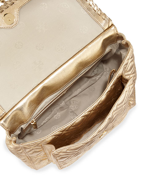 Marion Quilted Metallic Shoulder Bag, Gold