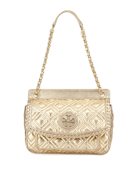 Tory Burch Marion Quilted Metallic Shoulder Bag Gold