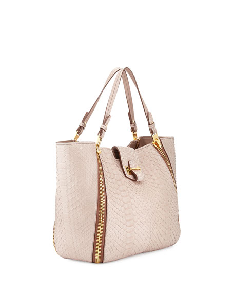 Sedgwick Medium Python Zip Tote Bag, Nude