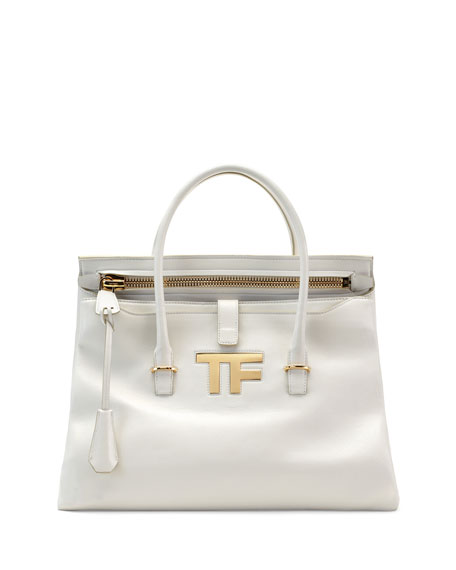 TOM FORD TF Icon Medium Satchel Bag, White