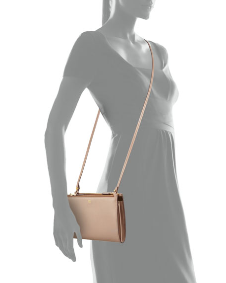 Triple-Zip Crossbody Bag, Nude