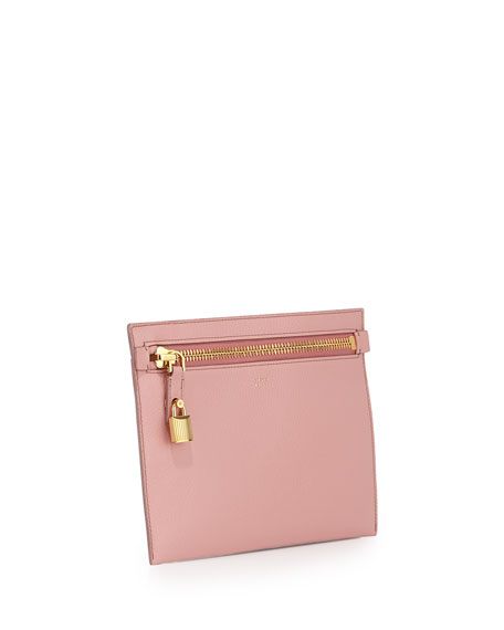 Large Calfskin Zip Clutch Bag, Pink