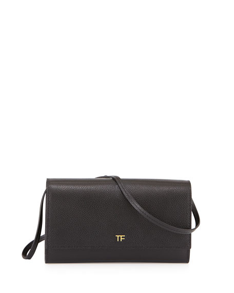 TOM FORD Leather Wallet-on-Chain, Black