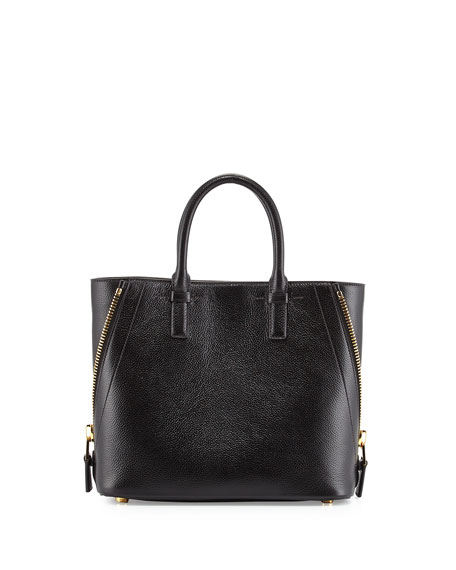TOM FORD Jennifer Mini Trap Leather Tote Bag, Black