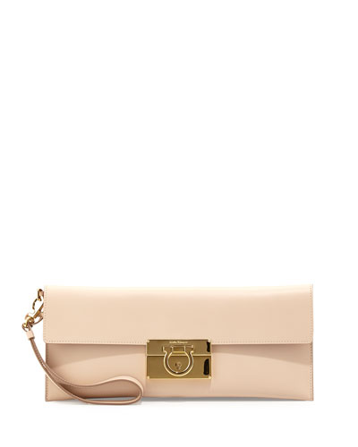 Afef Leather Clutch Bag, New Bisque