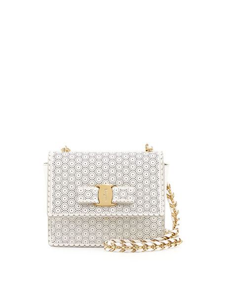 Ginny Perforated Bow Crossbody Bag, New Bianco