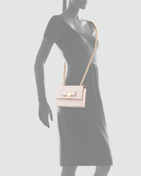 Ginny Perforated Bow Crossbody Bag, Macaron