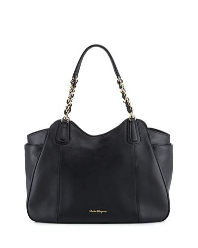 Melinda Medium Chain-Strap Tote Bag, Nero
