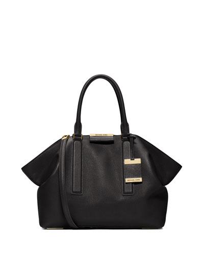 Lexi Large East-West Satchel Bag, Black