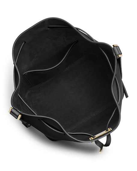 Miranda Large Drawstring Messenger Bag, Black