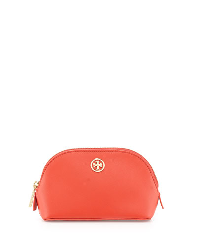 Robinson Small Leather Makeup Bag, Poppy Coral