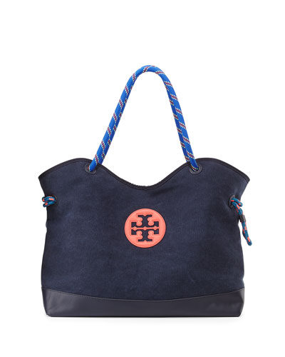 tory burch kellyn canvas tote bag  tory navy