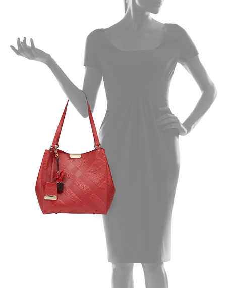 Check-Embossed Tassel Tote Bag, Military Red