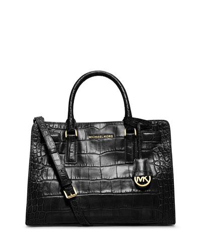 MICHAEL Michael Kors Dillon Croc-Embossed Satchel Bag, Black