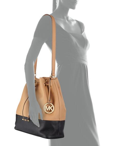 a1bfe89eb5ee MICHAEL Michael Kors Jules Large Drawstring Shoulder Bag, Suntan/Black