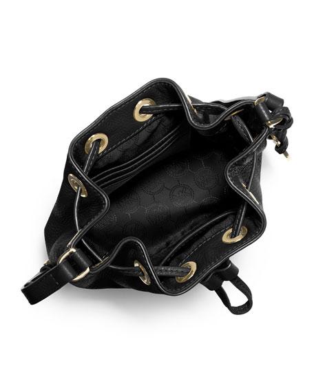 Jules Drawstring Crossbody Bag, Black
