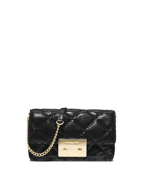 52c928a2b67c MICHAEL Michael Kors Sloan Quilted Snake Print Crossbody Bag, Black ...