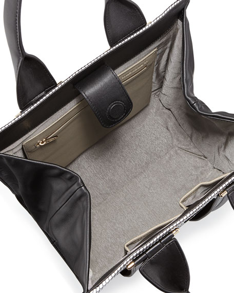 Two-Tone Woven Tote Bag, Black/White