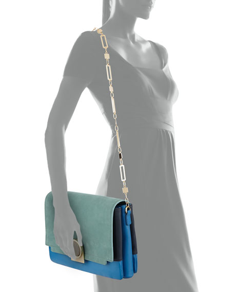 Bijou Colorblock Chain Shoulder Bag, Powder Aqua Multi