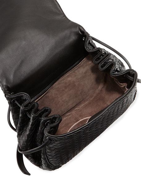 Bottega Veneta Intrecciato Small Flap Messenger Bag, Black f2a06a8a27
