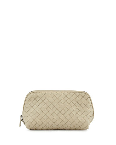 Medium Woven Cosmetics Bag, Beige