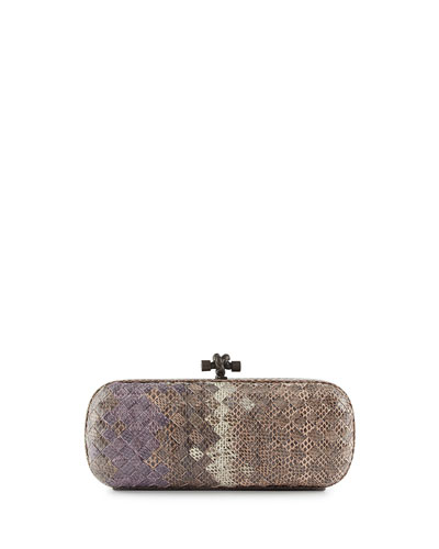 Woven Snakeskin Ayers Knot Clutch Bag, Pink