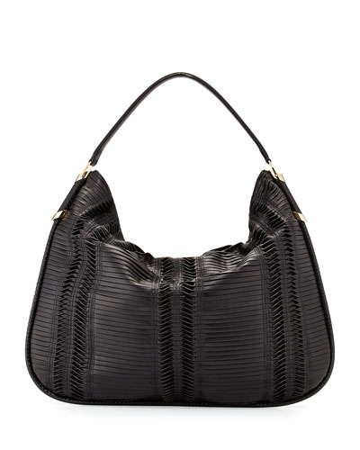 Zoe Large Pleated Hobo Bag, Black