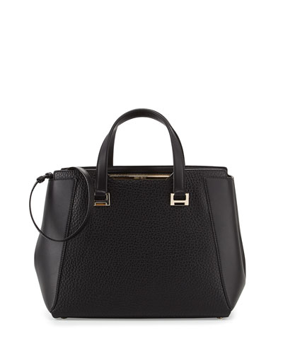 Alfie Large Leather Tote Bag, Black
