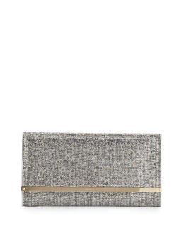 Maia Large Leopard-Print Glitter Clutch Bag