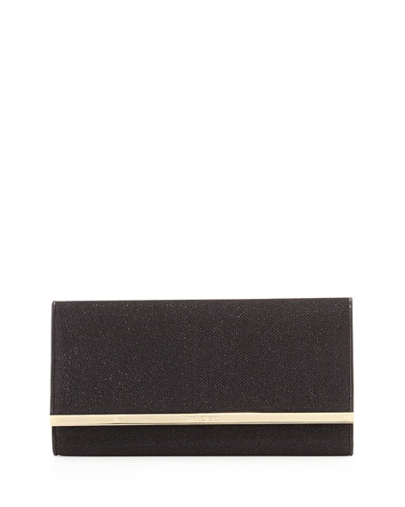 Jimmy Choo Maia Glitter Clutch Bag, Black