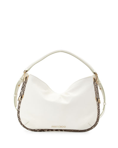 Zoe Small Metallic Shoulder Bag, White