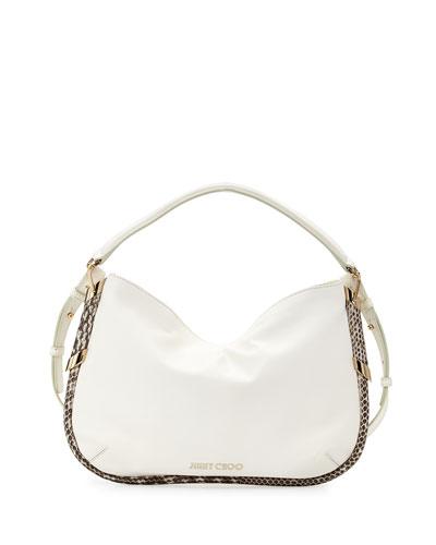 Zoe Small Metallic Shoulder Bag, White