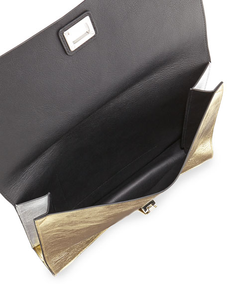 Large Metallic Lunch Bag Clutch, Silver/Gold