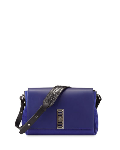Elliott Bicolor Shoulder Bag, Dark Blue/Black